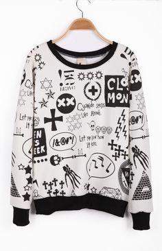 White Long Sleeve Sign Print Pullover Sweatshirt
