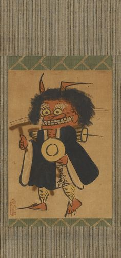 Demon reciting Buddhist prayers  18th century;      Edo period;    Ink and color on paper;  W: 33.5 cm;  Otsu, Japan;    F2008.4a-c