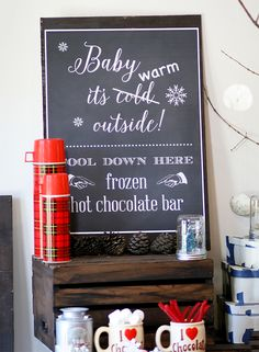 Frozen hot chocolate bar! This is a great idea for a party. And yummy, too. Merry Christmas in July!