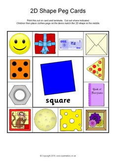 Print, cut out and laminate these cards for children to place clothes pegs on the shape pictures that match the shape in the centre. Shape Activities Kindergarten, Preschool Learning Activities, Shapes For Kids, Math For Kids, Shapes Flashcards, Maths Paper, Abc Coloring Pages, Shape Pictures, English Worksheets For Kids