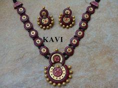 Gorgeous looking terracotta jewelry painted in Marroon & gold https://www.facebook.com/KavisTerracottajewellery