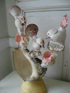 Amazing Vintage Sea Shell Art Sculpture Birds Nests All Created with Shells Sea Glass Crafts, Sea Crafts, Crafts To Make, Arts And Crafts, Seashell Art, Seashell Crafts, Shell Animals, Seashell Projects, Shell Flowers