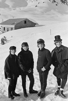 "The Beatles in 1965 while filming ""Help"" in Obertauem, AUSTRIA"