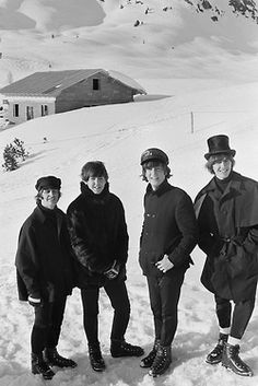 "The Beatles in 1965 while filming ""Help"" in Obertauem, AUSTRIA"