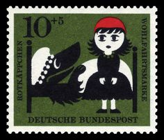 German Stamp featuring Little Red Riding Hood and the Wolf (disguised as Granny)