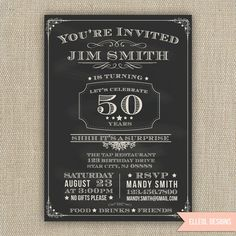 21st, 30th, 40th, 50th, 60th Surprise Birthday Party Invitation - chalkboard style - any age - printed or DIY. $16.00, via Etsy.