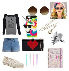 """PEACE, LOVE & UNICORNS"" by keneko17therainbowprincess ❤ liked on Polyvore featuring Marc by Marc Jacobs, Pieces, claire's, TOMS, Victoria Beckham and LUSASUL"
