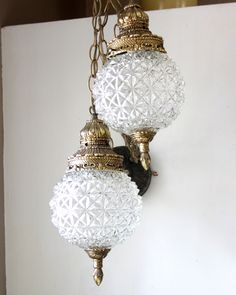 Vintage Glass Round Globe Double Globe Swag Lighting Clear Glass Hollywood Regency Style L WMC. $95.00, via Etsy.