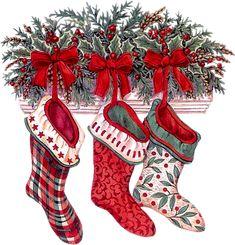 Old fashioned Christmas Stockings Christmas Scenes, Noel Christmas, Christmas Pictures, Christmas Greetings, Winter Christmas, Vintage Christmas, Christmas Stockings, Christmas Crafts, Christmas Decorations
