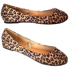 Leopard Print Suede or Leather Flats