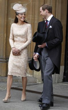 Kate: The Duchess of Cambridge continued her Alexander McQueen theme -- it's her third outfit from McQueen in the last four days. The lace dress was complemented by a Jane Taylor hat (about $550) and a Pink clutch bag from Prada. LK Bennett shoes complete the outfit