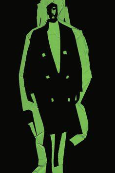 Fashion Illustration/Green tape on blackboard/Lanvin -Carlos Aponte