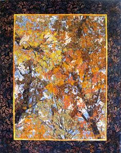 "Sally of SallyManke says:  Fall is in the air so bring crisp gold, orange and brown foliage into your home with this quilted wall hanging.  Feel the beauty of a walk in the woods from your home or office. This fabric ""painting"" represents a day in the woods at Arcadia Dunes on the shores of Lake Michigan. Perfect for your living room, dorm room, or office wall. - #quiltsyteam"