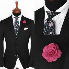 The Mondo black jacket over the Glasgow cutaway shirt and Black & pink floral tie.  www.Grandfrank.com