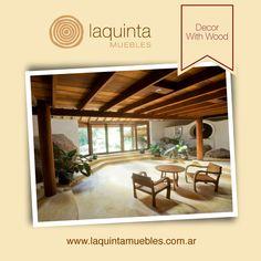 Fantástico Zen Madera. Diseño Contemporáneo. Con Madera en el salón, mesa y silla , Truss madera a la vista , y Big Stone decoración, también las plantas de interior.
