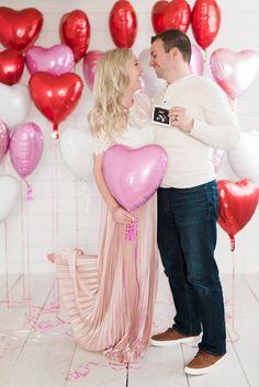 Valentines pregnancy announcement.  Hello Baby Brown