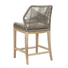 Luca Platinum Outdoor Counter Stool Back View