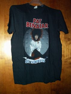 PAT BENATAR TEE SHIRT VINTAGE GET NERVOUS TOUR 1982 1983 S/S BLACK XL USED BAND