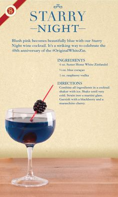 Made with Sutter Home White Zinfandel, our Starry Night wine cocktail is a striking way to celebrate the anniversary of the Wine cocktails? White Wine Cocktail, Cocktail Drinks, Alcoholic Drinks, Blue Cocktails, Easy Cocktails, Irish Cream, Tequila, Starry Night Wedding, Starry Nights
