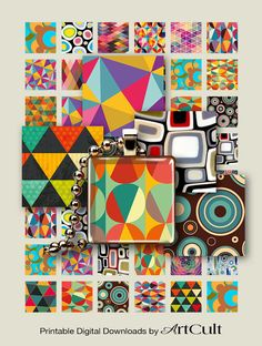 GEOMETRIC RETRO TILES - 1x1 and 1.5x1.5 inch size images Printable Digital Download for pendants, magnets, bezels settings, trays, charms