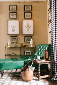 The bold green chair and foot stool in this mostly-neutral room add an eclectic and vibrant pop of color.