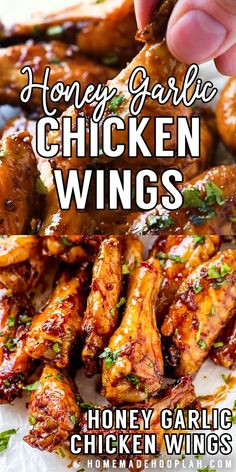 These honey garlic chicken wings are baked in the oven until nice and crispy and then coated in a sticky honey garlic sauce. Easy to adjust the recipe to make the wings mild in flavor or add a little extra kick! Honey Garlic Chicken Wings, Chicken Wing Sauces, Bbq Chicken Wings, Chicken Wing Recipes, Korean Fried Chicken Recipe Soy Garlic, Braised Chicken Wings Recipe, Thai Wings Recipe, Grilled Hot Wings Recipe, Garlic Sauce Recipes