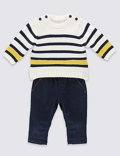 2 Piece Cotton Rich Striped Sweat Top & Trousers Outfit