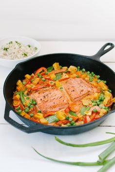 Butternut Squash, Salmon + Vegetable Curry via simplyrealhealth.com