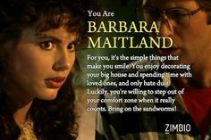 I'm Barbara Maitland! Which character from 'Beetlejuice' are you? Beetlejuice Characters, Tim Burton Characters, Geena Davis, Make You Smile, First Love, Funny, Beetle Juice, Nerd Stuff, Theatre