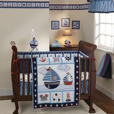 nautical baby sheets | Bedtime Originals Sail Away Bumperless Crib Bedding Set - Nautical ...