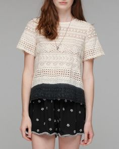 Lace Patchwork T-Shirt with dip dye. girl. by Band of Outsiders