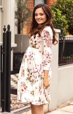 Pixie Maternity Dress Petal Pink Floral - Maternity Wedding Dresses, Evening Wear and Party Clothes by Tiffany Rose Long Sleeve Maternity Dress, Maternity Dresses For Baby Shower, Floral Maternity Dresses, Cute Maternity Outfits, Shower Dresses, Maternity Gowns, Maternity Fashion, Maternity Styles, Tiffany Rose