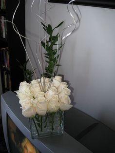 rose centerpiec, silver branch