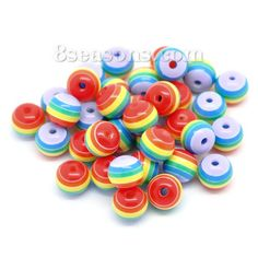 "Wholesale Resin Spacer Beads Ball Multicolor Stripe Pattern About 8mm( 3/8"") Dia, Hole: Approx 2mm, 200 PCs from China Supplier – 8seasons.com"