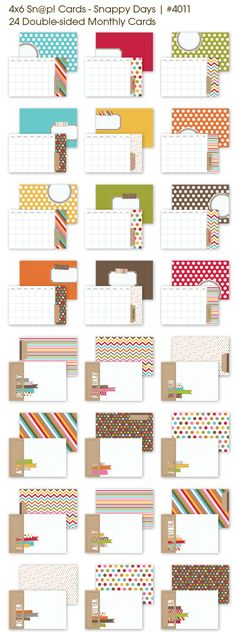 4x6 Sn@p Monthly Cards - double sided - for Project Life