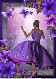 A4 1950 s style The Purple Silk Dress on Craftsuprint designed by Julie Hutchings - A4 Version of my 1950's Purple Silk Dress lady with petunia's and butterflys great as a card front or picture - Now available for download!