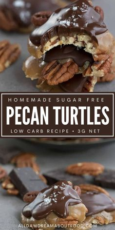 Homemade pecan turtle candy that's sugar-free and low carb? Oh baby! These delicious keto caramel pecan clusters are a truly special treat. Be ready to fight with your loved ones for the last of them! Low Carb Deserts, Low Carb Sweets, Low Calorie Recipes, Keto Recipes, Snack Recipes, Ketogenic Desserts, Healthy Desserts, Quick Snacks, Keto Snacks