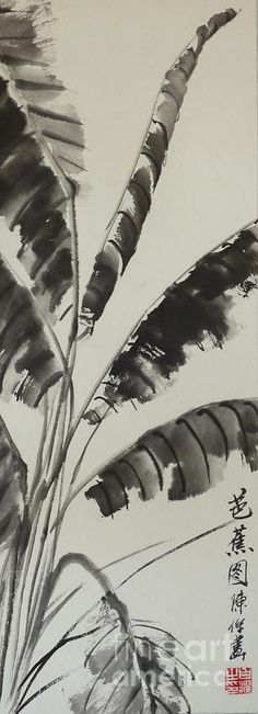Banana Leaf - Ink on rice paper - Chinese Art! All my paintings are for sale! Get it in your size and your style on my website http://birgit-moldenhauer.pixels.com/index.html