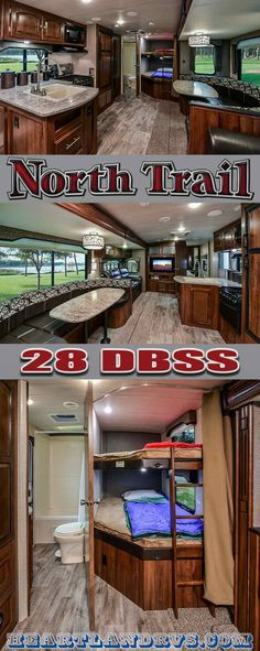 2017 North Trail 28 DBSS - This lightweight bunkhouse trailer is great for family camping trips: double queen bunks, roomy bathroom with outside entrance, queen bed, and ample seating and storage. | HeartlandRVs.com
