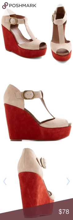 Lucky Brand NWT wedge! Lucky Brand! New and in box! T-strap, peep-toe, leather platform wedges with a soft, slightly suede feel. Bronze buckle. Pale pink and red! Wedge heel total height is 5 inches at back, on a 2 inch platform on front. 🔥 Get em while they're HOT!!! 🔥 Lucky Brand Shoes Wedges