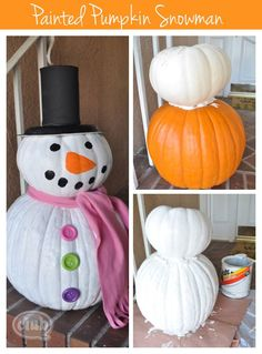 Painted pumpkin snowman DIY - great way to re-purpose your Fall pumpkins into a fun Holiday display
