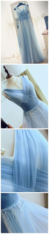 Blue V Neck Tulle Affordable Elegant Formal Long Prom Dresses, WG1007 #prom #promdress #longpromdress
