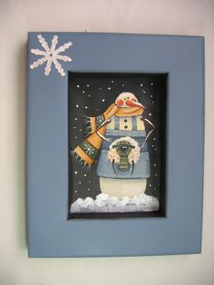Folk Art Sheep and Snowman Hand Painted and by barbsheartstrokes, $16.00