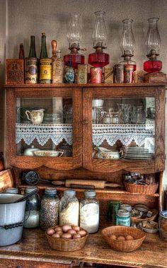 vintage farmhouse kitchen - displaying my oil lamps Vintage Farmhouse, Vintage Kitchen, Farmhouse Style, Farmhouse Decor, Vintage Country, Vintage Wood, Victorian Farmhouse, Farmhouse Interior, French Farmhouse