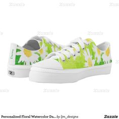 Personalised Floral Watercolor Daisy Low Top Shoes Printed Shoes by LJM Designs . #printedshoes