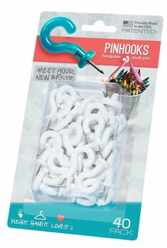 Amazon.com - Pinhooks Value Push Pin 40-Pack Wall Hooks, White - Utility Hooks