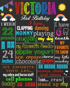 He encontrado este interesante anuncio de Etsy en https://www.etsy.com/es/listing/219218884/first-birthday-chalkboard-sign-rainbow