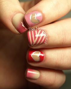 L O V E skittlette mani  featuring a striking gradient  The Nailasaurus: Pink and Hearts