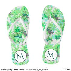 Customizable Pair of Flip Flops made by In a Flash. Flip Flop Art, Flip Flops, High Heels, Shoes Heels, Spring Green, Velcro Straps, Summer Fun, Monogram, Slip On