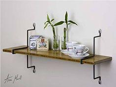 Assa Design Decorative Shelf Kit, One Wall Mount Bamboo Shelf with Vertical Mounting Brackets, Bamboo